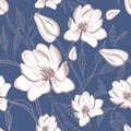 Seamless floral pattern with magnolia flowers Royalty Free Stock Images