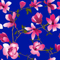 Seamless floral pattern with magnolia flowers Royalty Free Stock Photography