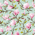 Seamless Floral Pattern. Magnolia Flowers and Leaves Background. Royalty Free Stock Photo