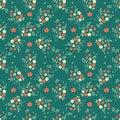 Seamless floral pattern millefleurs red white flower bouquet leaves sprigs arranged in diamond shape ornament on dark green backgr
