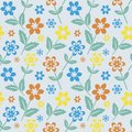 Seamless floral pattern mutlicolored on blue Stock Image
