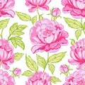 Seamless floral pattern peonies blossom flowers Royalty Free Stock Photography