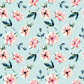 Seamless floral pattern with pink anemone flowers and green leaves Royalty Free Stock Photo