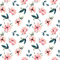 Seamless floral pattern with pink anemone flowers and green leaves