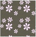 Seamless floral pattern. Pink cloves, brown swirls on gray