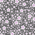 Seamless floral pattern with pink colored flowers on gray background