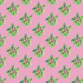 Seamless pattern with flowers and leaves on pink background