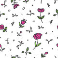 Seamless floral pattern with pink flowers and leaves on white background.