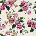 Seamless floral pattern with pink roses on light background, wat Royalty Free Stock Photo