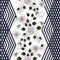 Seamless floral pattern. Pinkish grey flowers on a white background with vertical black stripes. Royalty Free Stock Photo