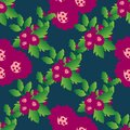 Seamless floral pattern with pretty red flowers and leaves