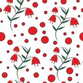 Seamless floral pattern with red bells