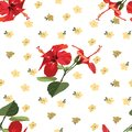 Seamless Floral Pattern Red Hibiscus - Rose Mallow Royalty Free Stock Photo