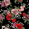 Seamless floral pattern with red and pink roses on black background, watercolor