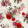 Seamless floral pattern with red and pink roses on light background, watercolor Royalty Free Stock Photo