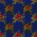 Seamless floral pattern with red poppies on blue background Royalty Free Stock Photos