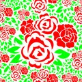 Seamless Floral Pattern with Red Rose Flower and Green Leaves Background