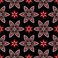 Seamless floral pattern. Red and white elements on black background