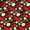Seamless Floral Pattern with Red and White Roses on a Black Background