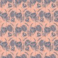 Seamless floral pattern with ropes, ribbons, tulips, poppies and lilies. Complex vector print in pink, smoky blue and grey