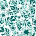 Seamless floral pattern seamlessly wallpaper with art green foliage on white Royalty Free Stock Photo