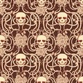 Seamless floral pattern with skull in art nouveau style Royalty Free Stock Photo
