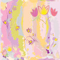 Seamless floral pattern with stylized sketch tulips Royalty Free Stock Photo