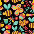 Seamless floral pattern summer composition with honeycomb bee bees flowers use it as fills web page background surface Stock Photography