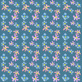 Seamless floral pattern texture on blue dotted background Royalty Free Stock Photography
