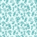 Seamless floral pattern texture with blue flowers hand drawn Royalty Free Stock Image