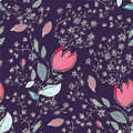 Seamless floral pattern with tulips Stock Images
