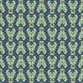 Seamless floral pattern with tulips, poppies and lilies. Complex vector print in blue, aqua, pink and yellow.