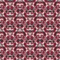 Seamless floral pattern with tulips, poppies and lilies. Complex vector print in burgundy, grey, black and pink.