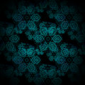 Seamless floral pattern turquoise black Royalty Free Stock Photo