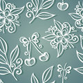 Seamless floral pattern vector hand drawn texture with cherries Royalty Free Stock Images
