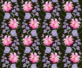 Seamless floral pattern in vector. Pink cosmos and lilac bell flowers on black background. Vertical garlands with purple leaves