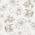 Seamless floral pattern vintage rose flowers birds Stock Photography