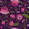 Seamless floral pattern on violet background with leaves and curly stems vector illustration Stock Photo