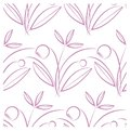 Seamless floral pattern, violet flowers and leaves on white