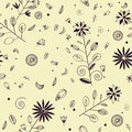 Seamless floral pattern with violet ink elements Stock Photos