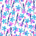 Seamless floral pattern with watercolor blue pink flowers and leaves in vintage style on white background. . Hand made
