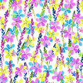 Seamless floral pattern with watercolor blue pink yellow flowers and leaves in vintage style on white background. . Hand