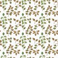 stock image of  Seamless floral pattern with watercolor branches with leaves, hand drawn isolated on a white background
