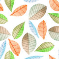 Seamless floral pattern with the watercolor bright colorful leaves, hand painted on a white background