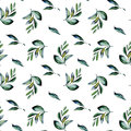 Seamless floral pattern with watercolor green laurel branches