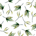 Seamless floral pattern with watercolor green leaves and branches