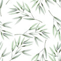 Seamless floral pattern with the watercolor green leaves on the branches Royalty Free Stock Photo