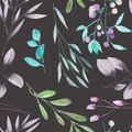 Seamless floral pattern with the watercolor green leaves on the branches and purple berries (Mistletoe)