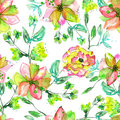 Seamless floral pattern with watercolor hand-draw yellow, pink and green flowers on the branches with green leaves Royalty Free Stock Photo
