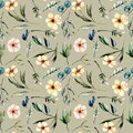 Seamless floral pattern with watercolor pink flowers, eucalyptus leaves and green branches